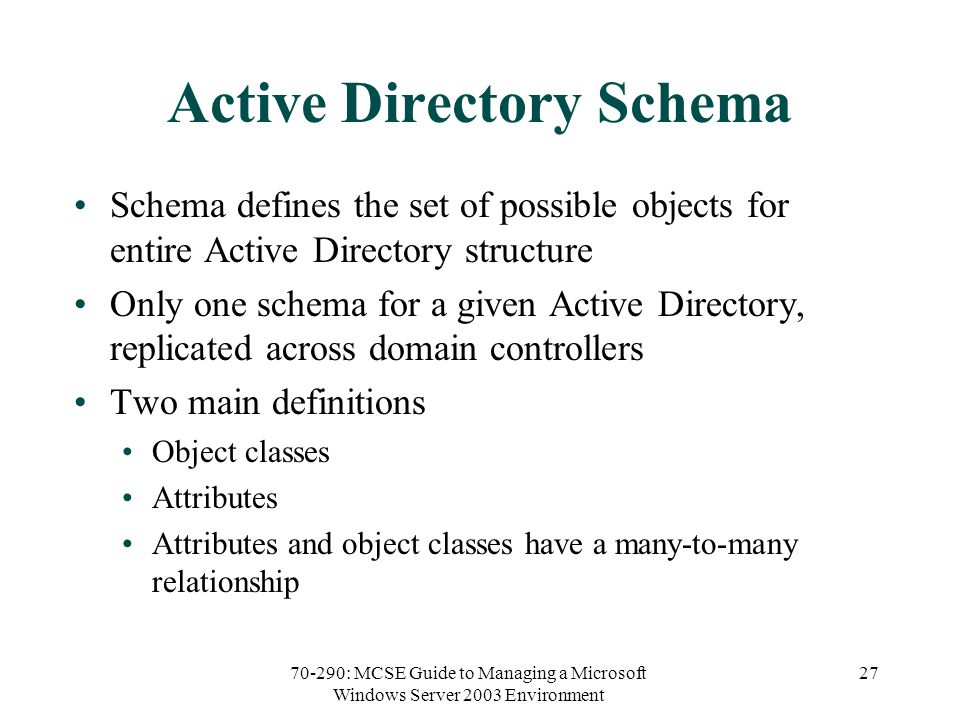 70-290: MCSE Guide to Managing a Microsoft Windows Server 2003 Environment 27 Active Directory Schema Schema defines the set of possible objects for entire Active Directory structure Only one schema for a given Active Directory, replicated across domain controllers Two main definitions Object classes Attributes Attributes and object classes have a many-to-many relationship