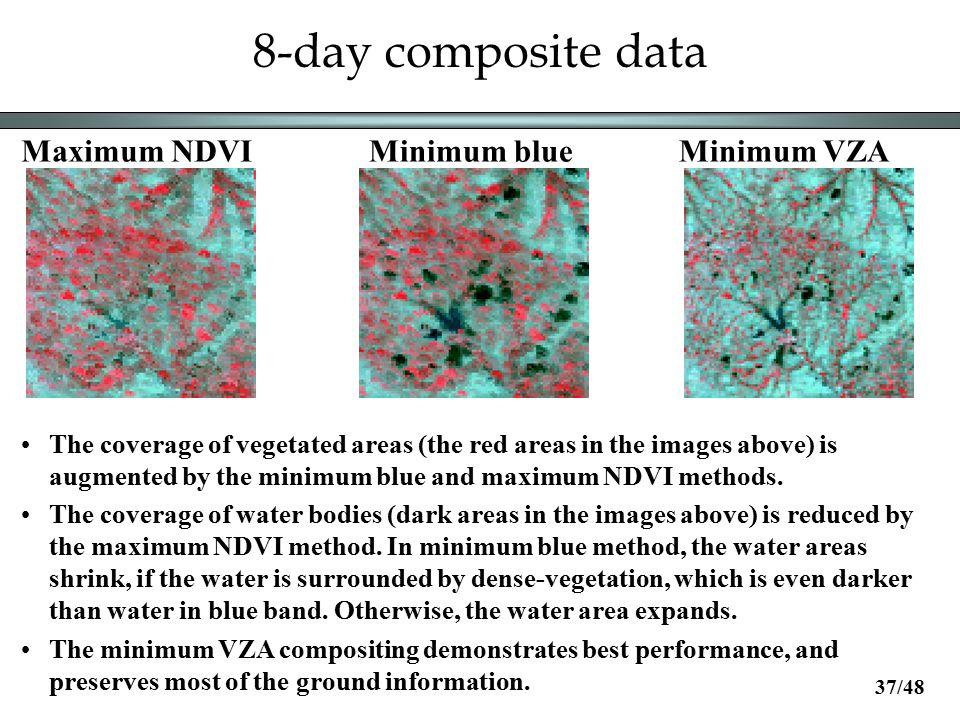 8-day composite data Maximum NDVIMinimum blueMinimum VZA The coverage of vegetated areas (the red areas in the images above) is augmented by the minimum blue and maximum NDVI methods.