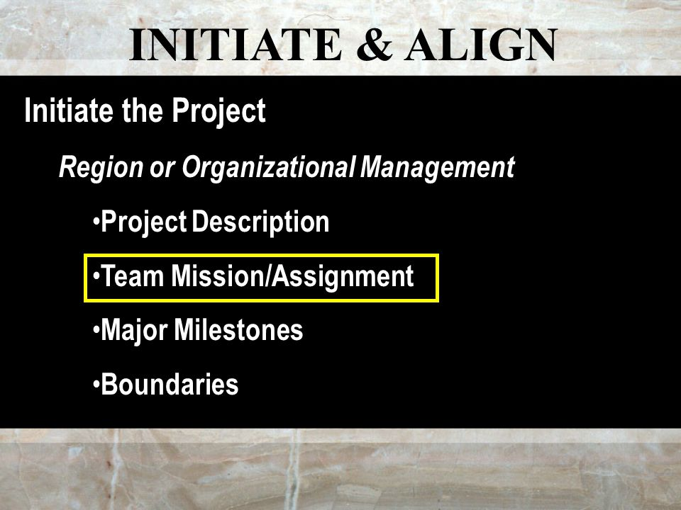 INITIATE & ALIGN Initiate the Project Region or Organizational Management Project Description Team Mission/Assignment Major Milestones Boundaries