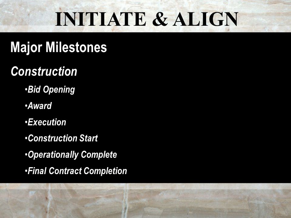 INITIATE & ALIGN Major Milestones Construction Bid Opening Award Execution Construction Start Operationally Complete Final Contract Completion