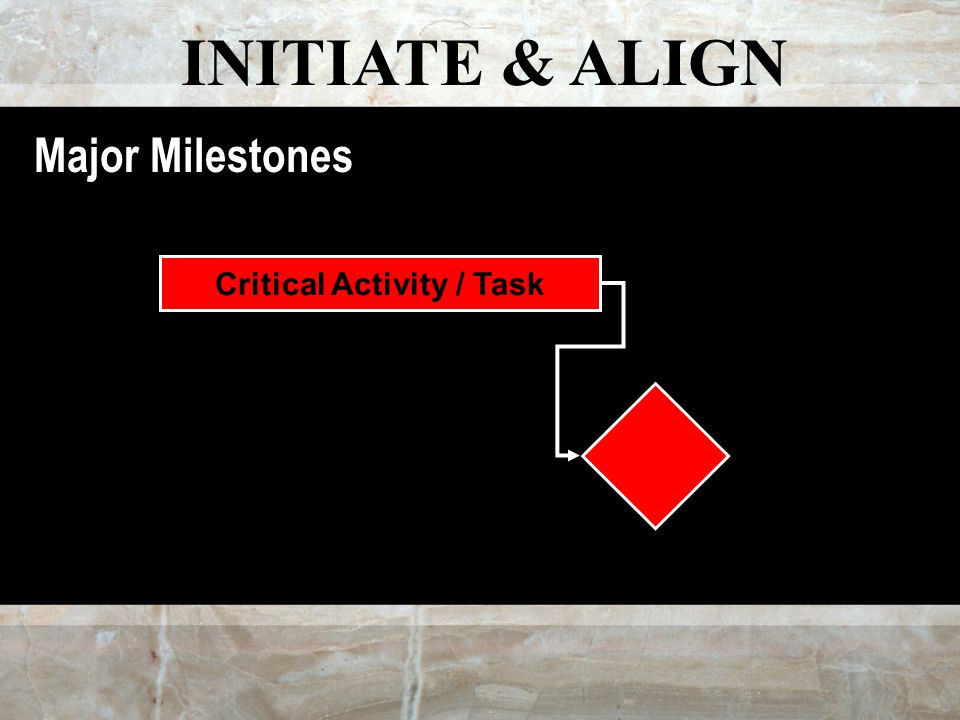 INITIATE & ALIGN Major Milestones Critical Activity / Task