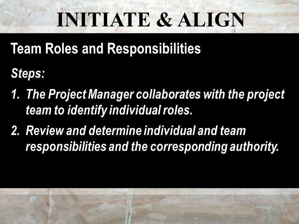 INITIATE & ALIGN Team Roles and Responsibilities Steps: 1.The Project Manager collaborates with the project team to identify individual roles.
