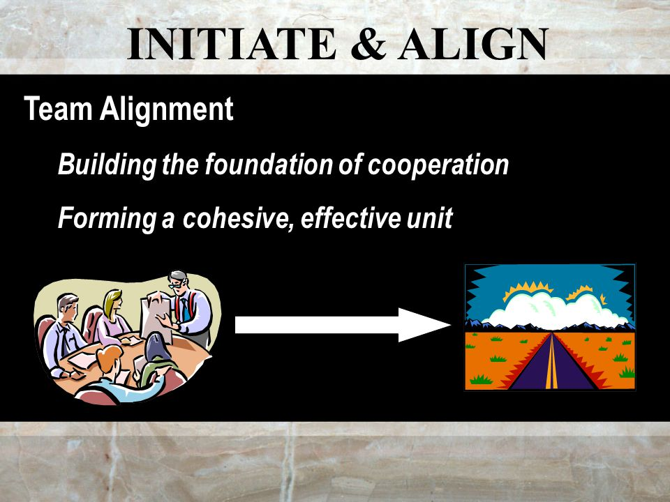 INITIATE & ALIGN Team Alignment Building the foundation of cooperation Forming a cohesive, effective unit