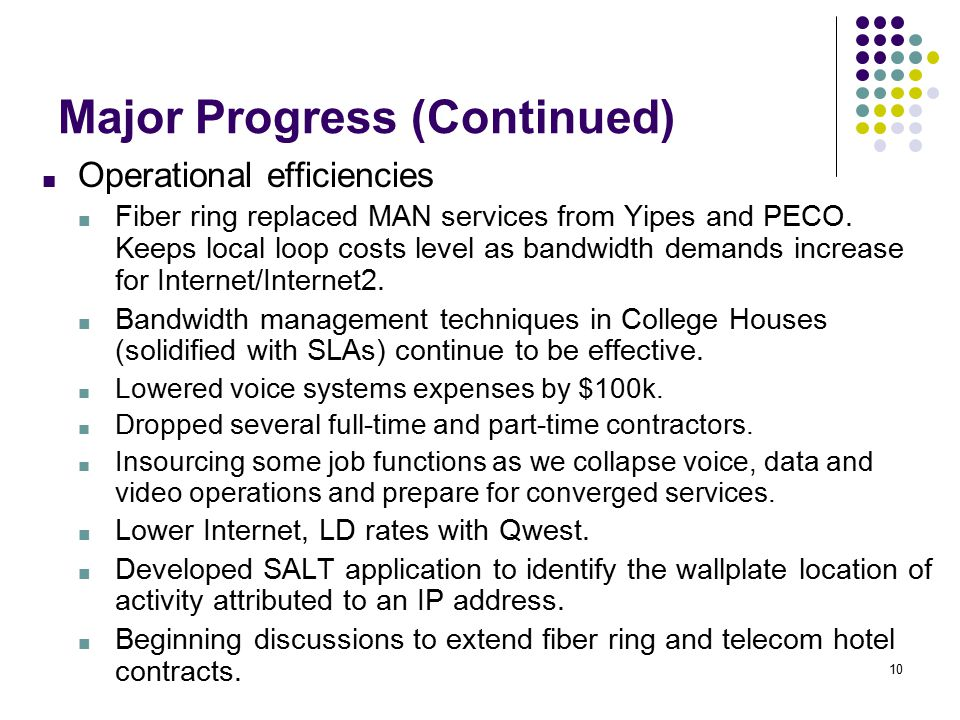 10 Major Progress (Continued) ■ Operational efficiencies ■ Fiber ring replaced MAN services from Yipes and PECO.