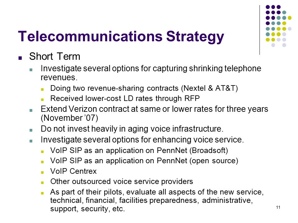 11 Telecommunications Strategy ■ Short Term ■ Investigate several options for capturing shrinking telephone revenues.