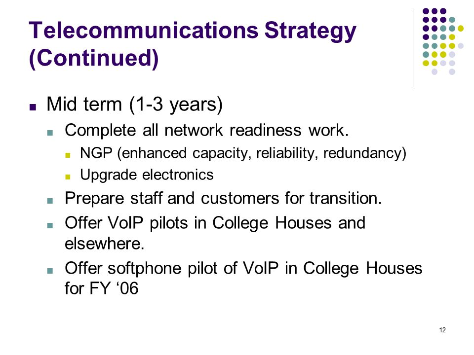 12 Telecommunications Strategy (Continued) ■ Mid term (1-3 years) ■ Complete all network readiness work.