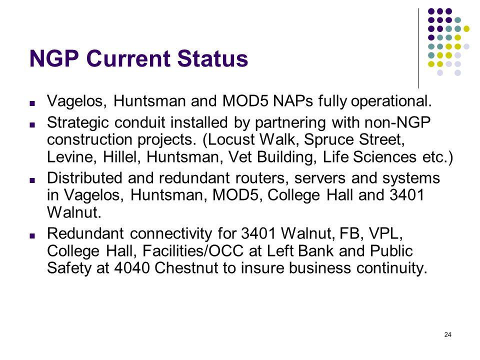 24 NGP Current Status ■ Vagelos, Huntsman and MOD5 NAPs fully operational.