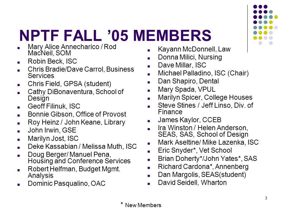 3 NPTF FALL '05 MEMBERS ■ Mary Alice Annecharico / Rod MacNeil, SOM ■ Robin Beck, ISC ■ Chris Bradie/Dave Carrol, Business Services ■ Chris Field, GPSA (student) ■ Cathy DiBonaventura, School of Design ■ Geoff Filinuk, ISC ■ Bonnie Gibson, Office of Provost ■ Roy Heinz / John Keane, Library ■ John Irwin, GSE ■ Marilyn Jost, ISC ■ Deke Kassabian / Melissa Muth, ISC ■ Doug Berger/ Manuel Pena, Housing and Conference Services ■ Robert Helfman, Budget Mgmt.