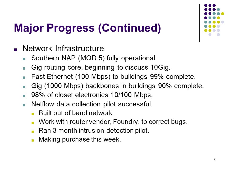 7 Major Progress (Continued) ■ Network Infrastructure ■ Southern NAP (MOD 5) fully operational.