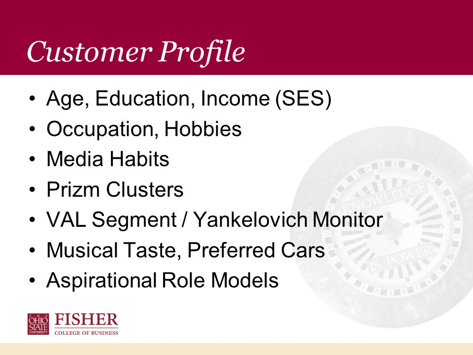 Customer Profile Age, Education, Income (SES) Occupation, Hobbies Media Habits Prizm Clusters VAL Segment / Yankelovich Monitor Musical Taste, Preferred Cars Aspirational Role Models