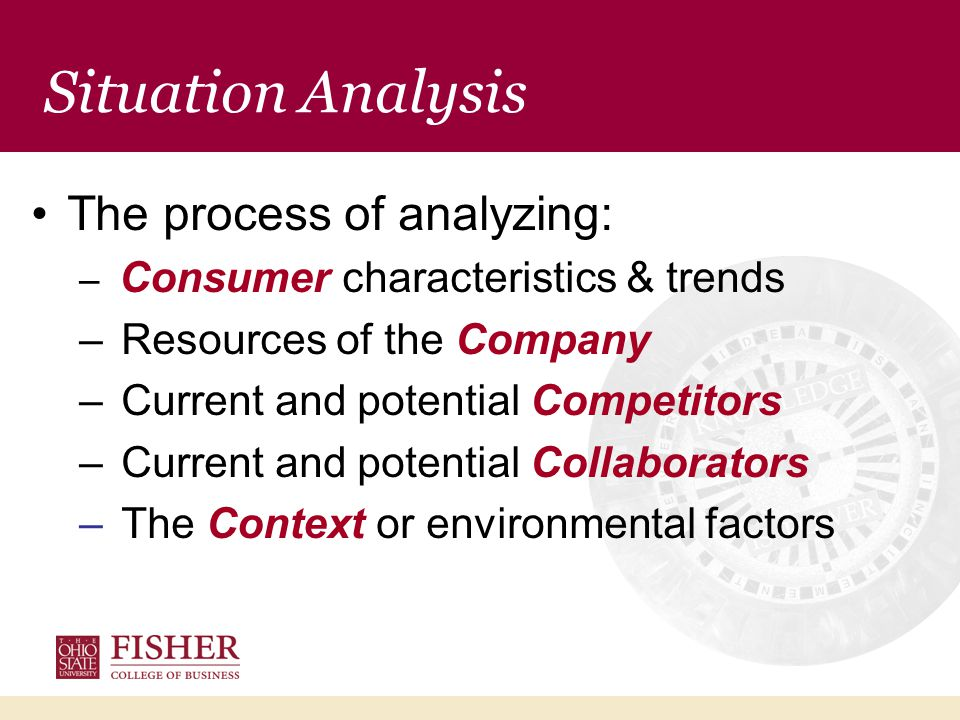 The process of analyzing: – Consumer characteristics & trends – Resources of the Company – Current and potential Competitors – Current and potential Collaborators – The Context or environmental factors Situation Analysis