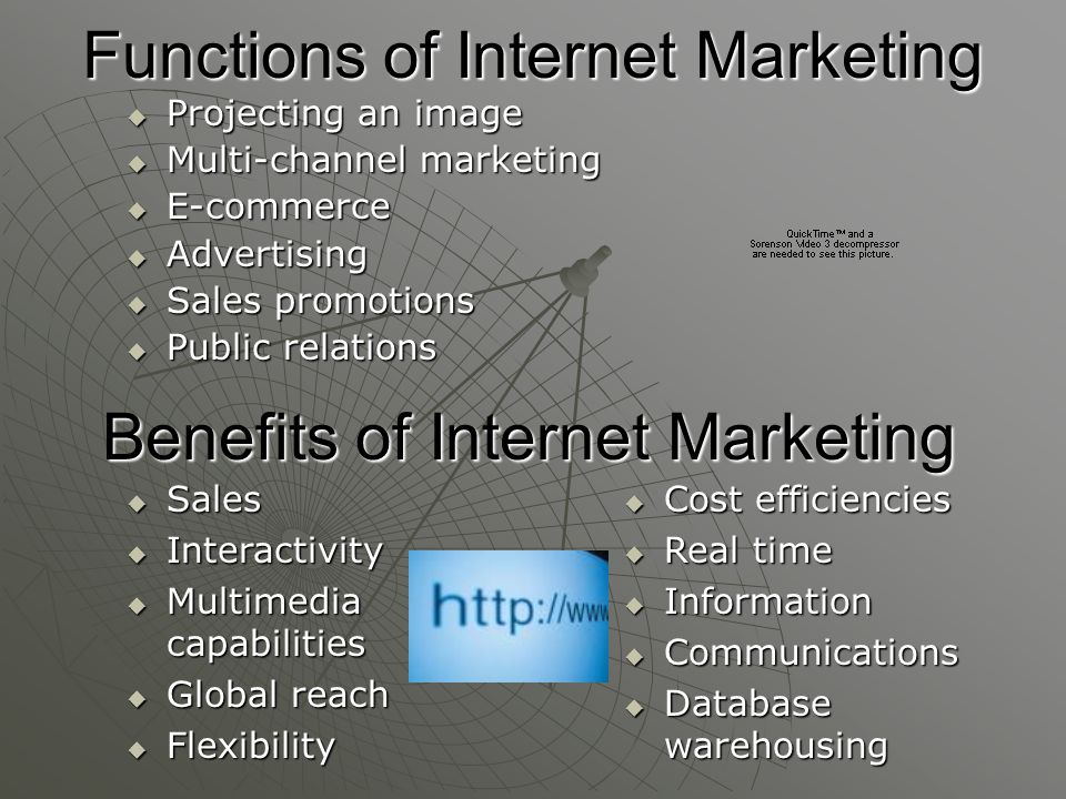 Functions of Internet Marketing  Projecting an image  Multi-channel marketing  E-commerce  Advertising  Sales promotions  Public relations Benefits of Internet Marketing  Sales  Interactivity  Multimedia capabilities  Global reach  Flexibility  Cost efficiencies  Real time  Information  Communications  Database warehousing