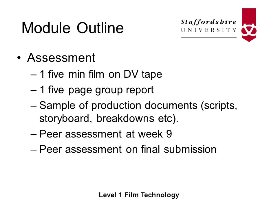 Module Outline Level  Film Technology Film Technology Ce Semester