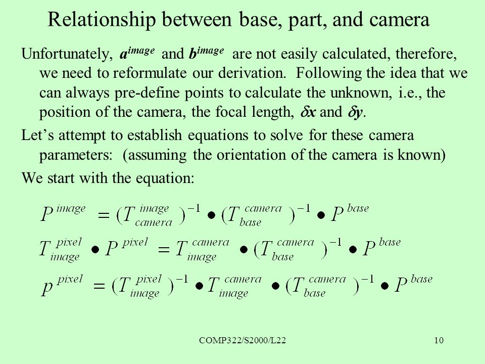 COMP322/S2000/L2210 Relationship between base, part, and camera Unfortunately, a image and b image are not easily calculated, therefore, we need to reformulate our derivation.