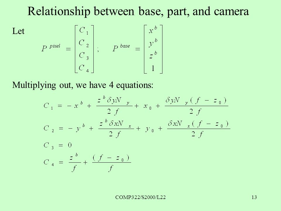 COMP322/S2000/L2213 Relationship between base, part, and camera Let Multiplying out, we have 4 equations: