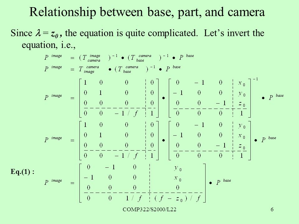 COMP322/S2000/L226 Relationship between base, part, and camera Since  = z 0, the equation is quite complicated.