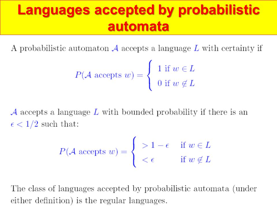 Languages accepted by probabilistic automata