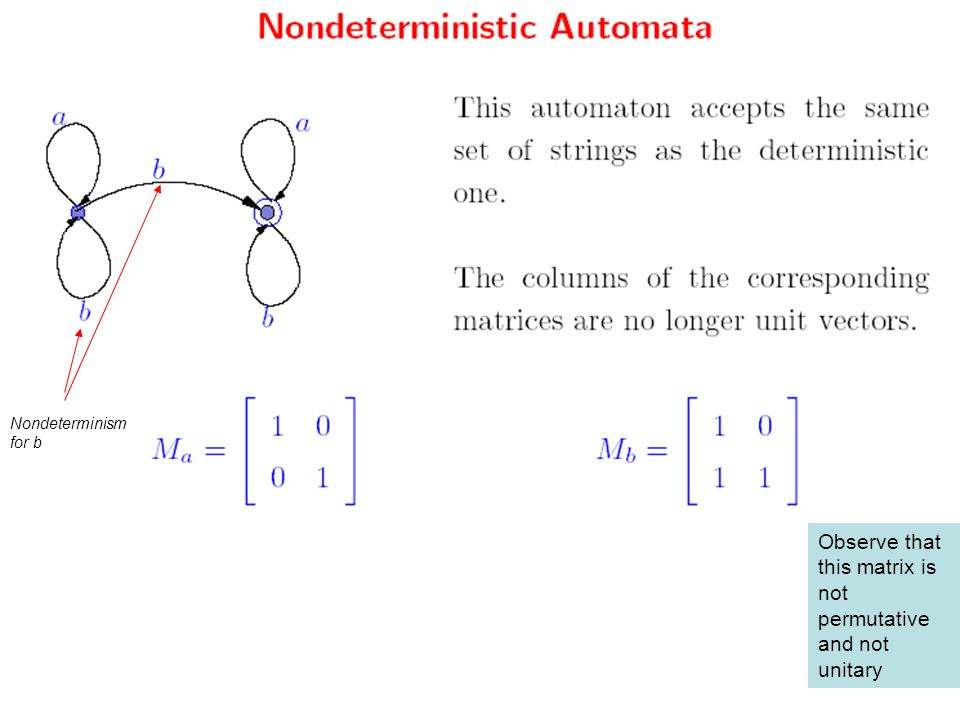 Nondeterminism for b Observe that this matrix is not permutative and not unitary