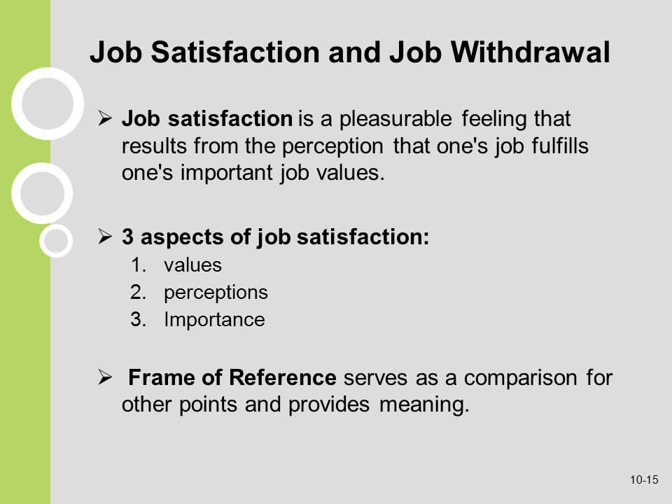 Job Satisfaction and Job Withdrawal  Job satisfaction is a pleasurable feeling that results from the perception that one s job fulfills one s important job values.