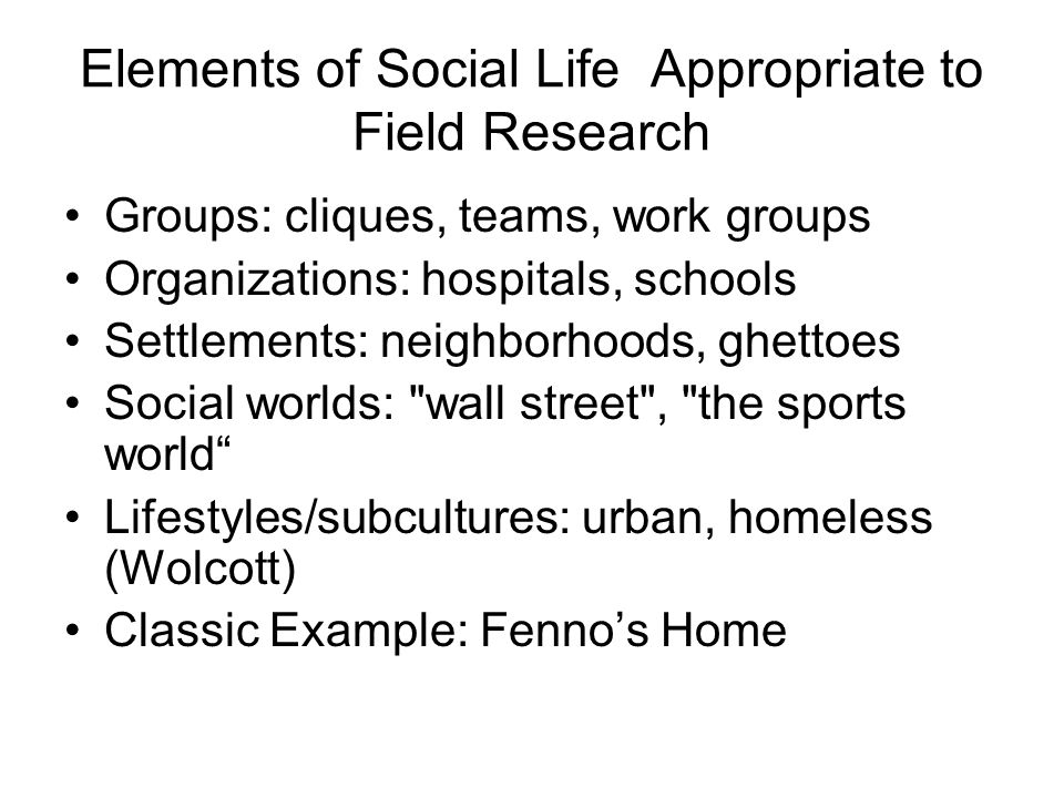 Elements of Social Life Appropriate to Field Research Groups: cliques, teams, work groups Organizations: hospitals, schools Settlements: neighborhoods, ghettoes Social worlds: wall street , the sports world Lifestyles/subcultures: urban, homeless (Wolcott) Classic Example: Fenno's Home