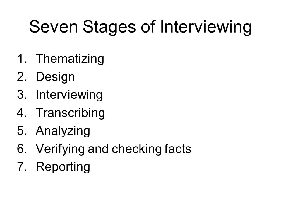 Seven Stages of Interviewing 1.Thematizing 2.Design 3.Interviewing 4.Transcribing 5.Analyzing 6.Verifying and checking facts 7.Reporting