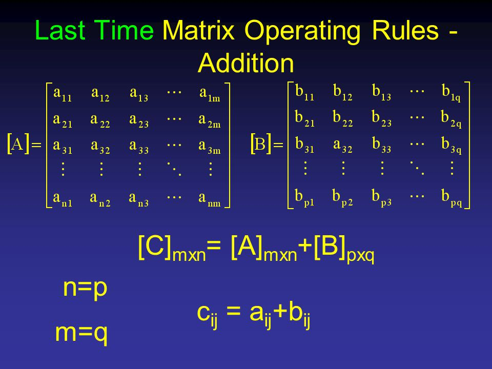Last Time Matrix Operating Rules - Addition [C] mxn = [A] mxn +[B] pxq n=p m=q c ij = a ij +b ij