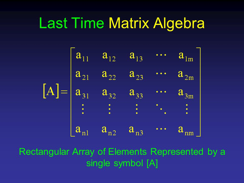 Last Time Matrix Algebra Rectangular Array of Elements Represented by a single symbol [A]