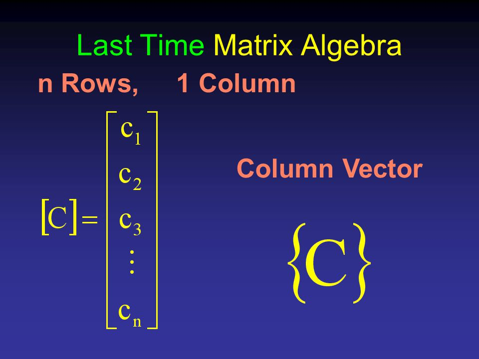 Last Time Matrix Algebra n Rows, 1 Column Column Vector