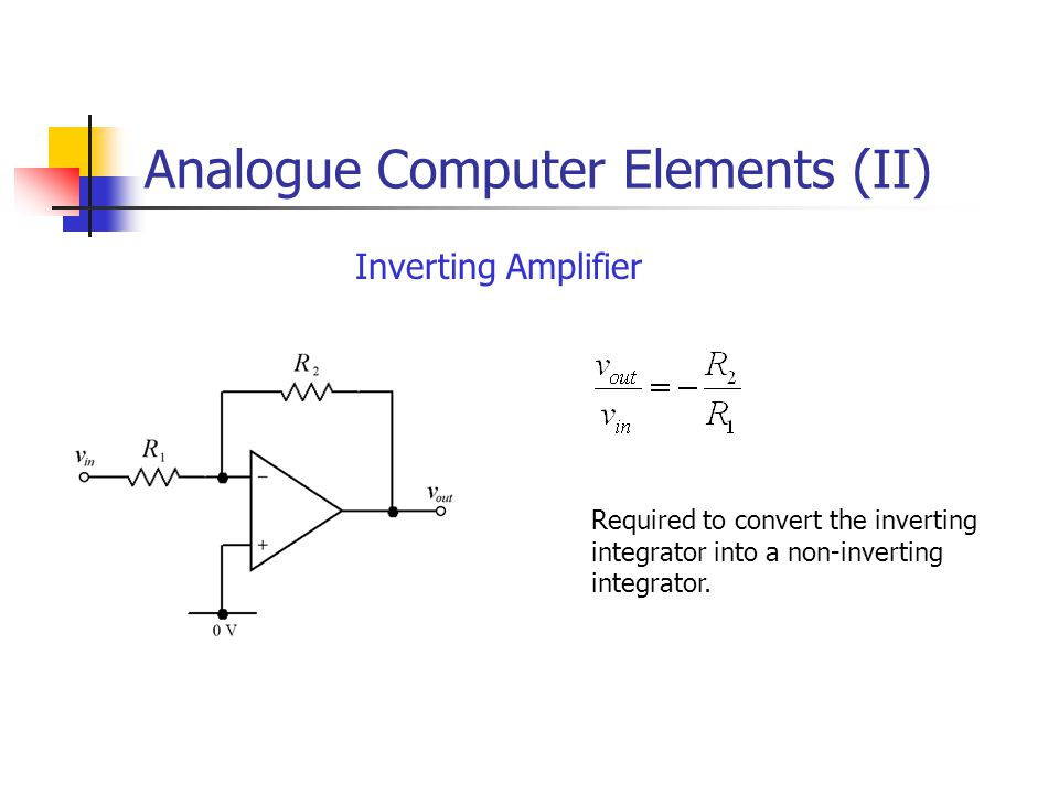 Analogue Computer Elements (II) Inverting Amplifier Required to convert the inverting integrator into a non-inverting integrator.