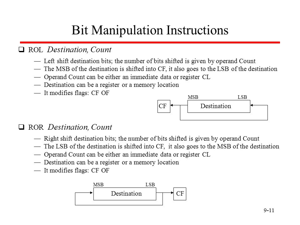 9-11 Bit Manipulation Instructions  ROL Destination, Count — Left shift destination bits; the number of bits shifted is given by operand Count — The MSB of the destination is shifted into CF, it also goes to the LSB of the destination — Operand Count can be either an immediate data or register CL — Destination can be a register or a memory location — It modifies flags: CF OF CFDestination  ROR Destination, Count — Right shift destination bits; the number of bits shifted is given by operand Count — The LSB of the destination is shifted into CF, it also goes to the MSB of the destination — Operand Count can be either an immediate data or register CL — Destination can be a register or a memory location — It modifies flags: CF OF CFDestination LSBMSB LSBMSB