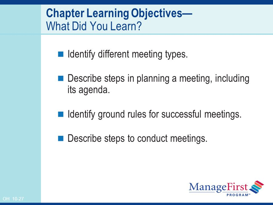 OH Chapter Learning Objectives— What Did You Learn.