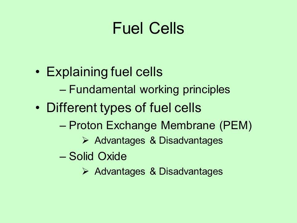 Fuel Cells Explaining fuel cells –Fundamental working principles Different types of fuel cells –Proton Exchange Membrane (PEM)  Advantages & Disadvantages –Solid Oxide  Advantages & Disadvantages