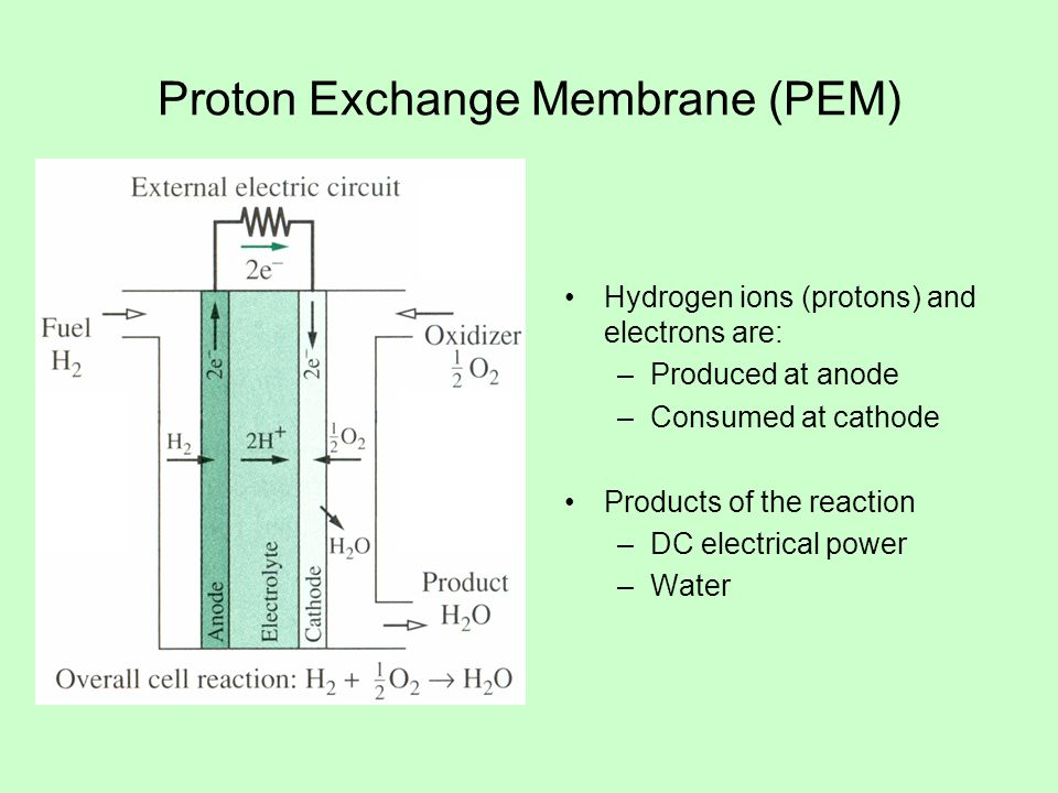 Proton Exchange Membrane (PEM) Hydrogen ions (protons) and electrons are: –Produced at anode –Consumed at cathode Products of the reaction –DC electrical power –Water