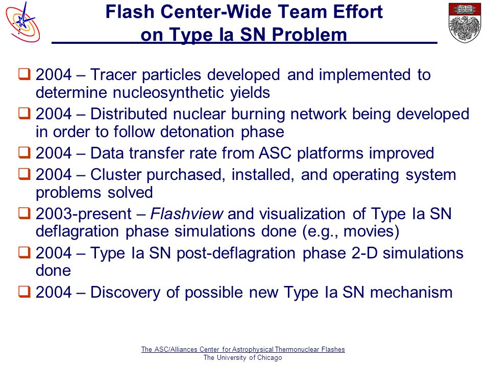 The ASC/Alliances Center for Astrophysical Thermonuclear Flashes The University of Chicago Flash Center-Wide Team Effort on Type Ia SN Problem  2004 – Tracer particles developed and implemented to determine nucleosynthetic yields q2004 – Distributed nuclear burning network being developed in order to follow detonation phase q2004 – Data transfer rate from ASC platforms improved q2004 – Cluster purchased, installed, and operating system problems solved q2003-present – Flashview and visualization of Type Ia SN deflagration phase simulations done (e.g., movies) q2004 – Type Ia SN post-deflagration phase 2-D simulations done q2004 – Discovery of possible new Type Ia SN mechanism