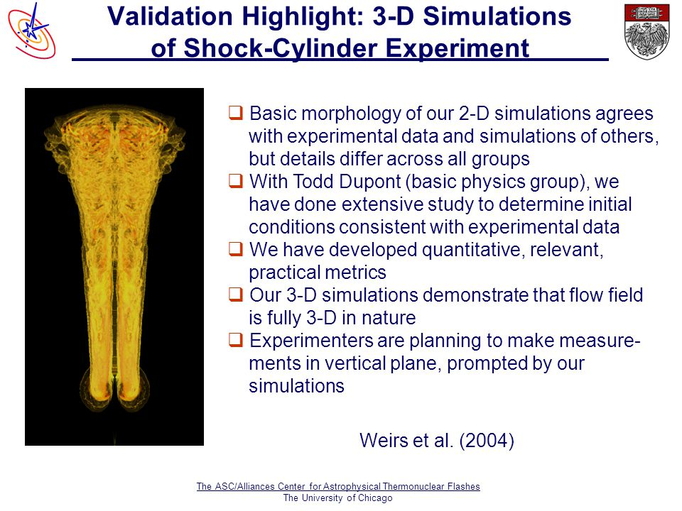The ASC/Alliances Center for Astrophysical Thermonuclear Flashes The University of Chicago Validation Highlight: 3-D Simulations of Shock-Cylinder Experiment  Basic morphology of our 2-D simulations agrees with experimental data and simulations of others, but details differ across all groups  With Todd Dupont (basic physics group), we have done extensive study to determine initial conditions consistent with experimental data  We have developed quantitative, relevant, practical metrics  Our 3-D simulations demonstrate that flow field is fully 3-D in nature  Experimenters are planning to make measure- ments in vertical plane, prompted by our simulations Weirs et al.