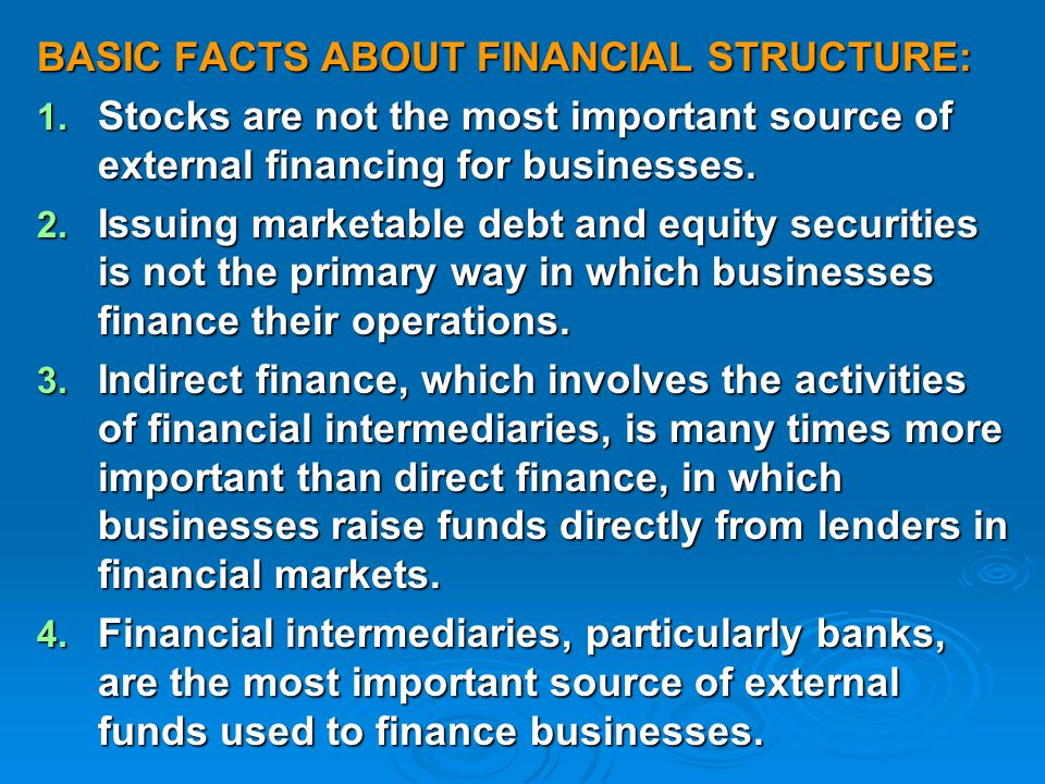 BASIC FACTS ABOUT FINANCIAL STRUCTURE: 1.