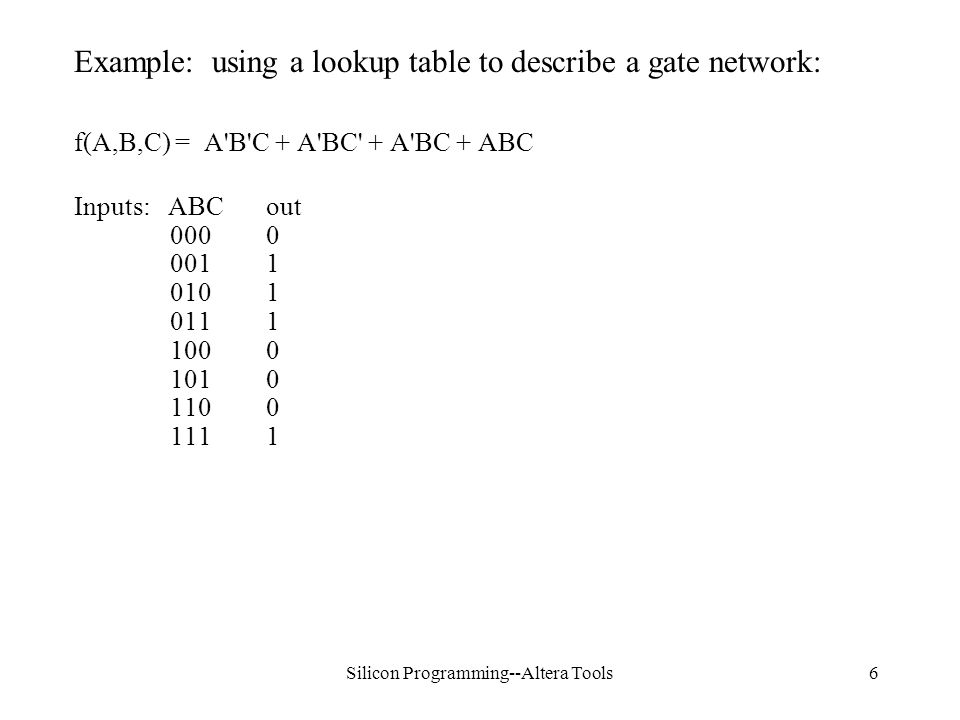 Silicon Programming--Altera Tools6 Example: using a lookup table to describe a gate network: f(A,B,C) = A B C + A BC + A BC + ABC Inputs: ABCout