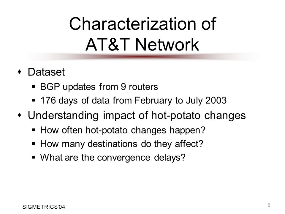 SIGMETRICS'04 9 Characterization of AT&T Network  Dataset  BGP updates from 9 routers  176 days of data from February to July 2003  Understanding impact of hot-potato changes  How often hot-potato changes happen.