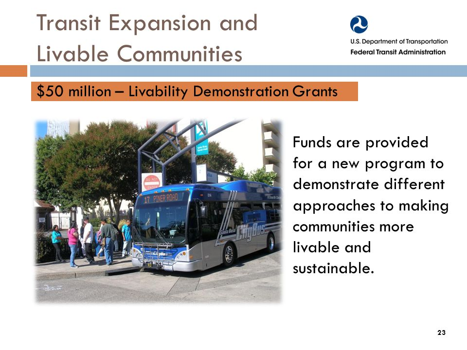 Funds are provided for a new program to demonstrate different approaches to making communities more livable and sustainable.
