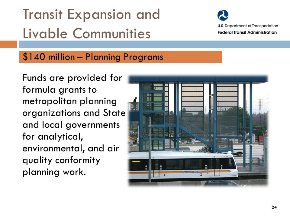 Funds are provided for formula grants to metropolitan planning organizations and State and local governments for analytical, environmental, and air quality conformity planning work.