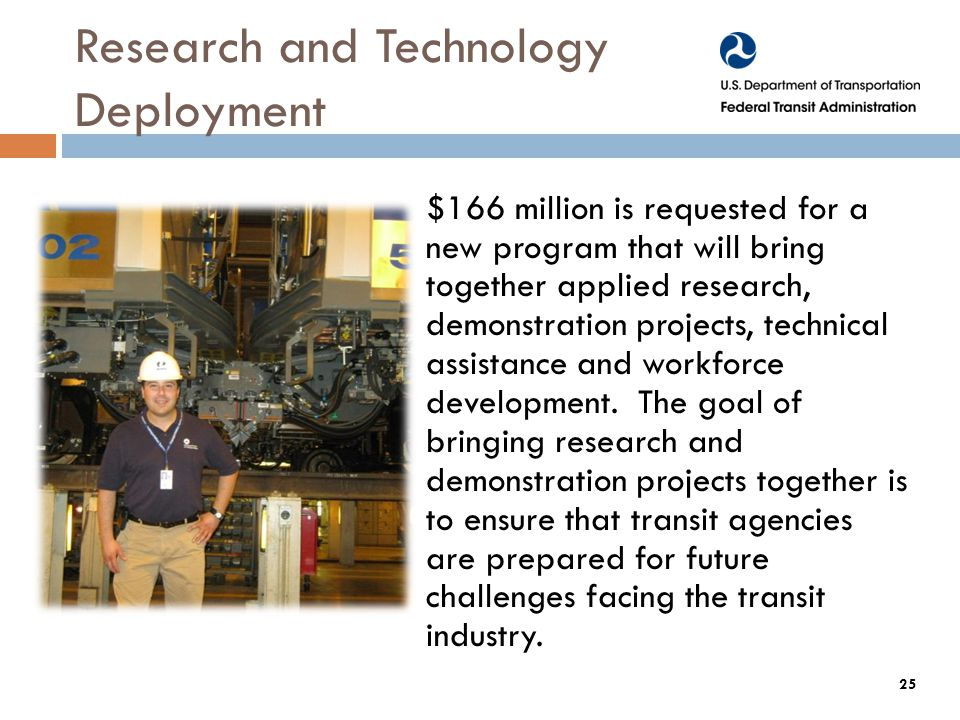 Research and Technology Deployment $166 million is requested for a new program that will bring together applied research, demonstration projects, technical assistance and workforce development.