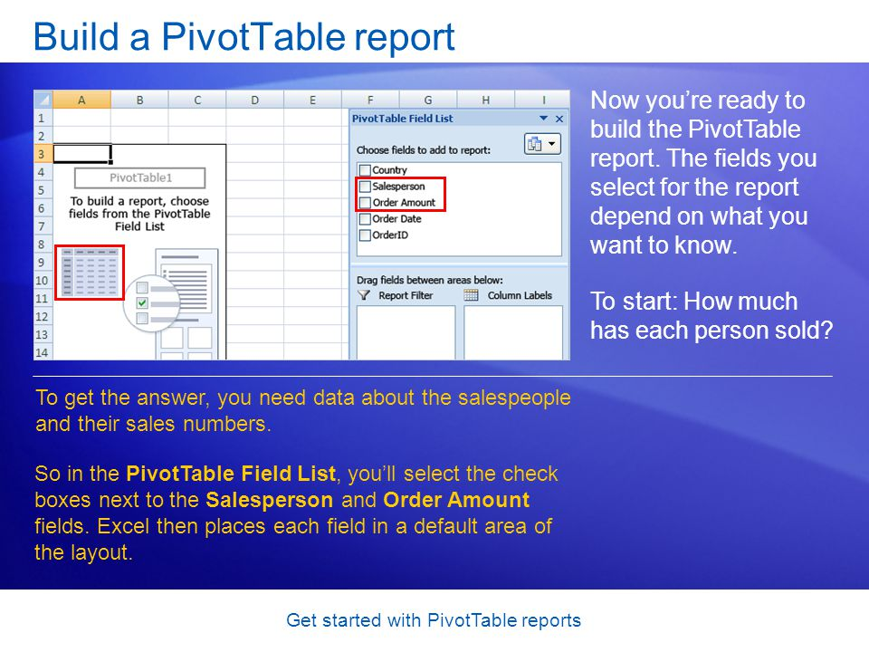 Get started with PivotTable reports Build a PivotTable report Now you're ready to build the PivotTable report.