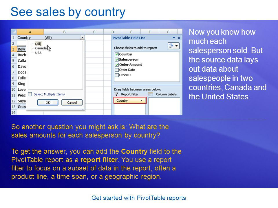 Get started with PivotTable reports See sales by country Now you know how much each salesperson sold.