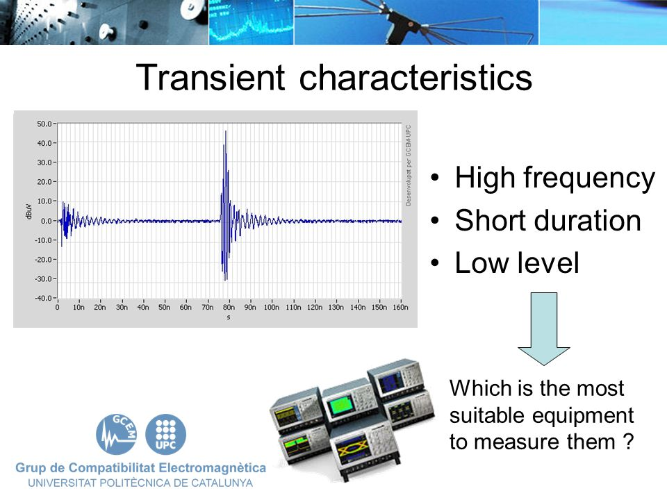 High frequency Short duration Low level Transient characteristics Which is the most suitable equipment to measure them