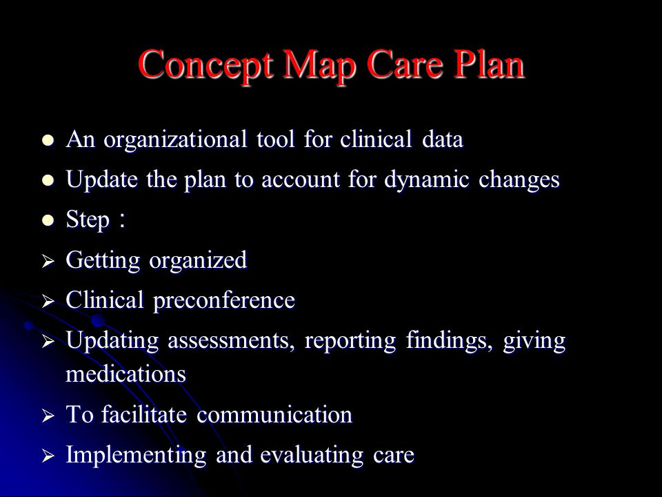 Concept Map Care Plan An organizational tool for clinical data An organizational tool for clinical data Update the plan to account for dynamic changes Update the plan to account for dynamic changes Step : Step :  Getting organized  Clinical preconference  Updating assessments, reporting findings, giving medications  To facilitate communication  Implementing and evaluating care
