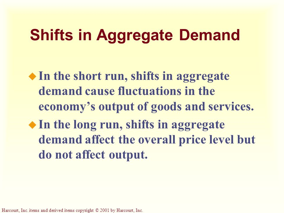 Shifts in Aggregate Demand u In the short run, shifts in aggregate demand cause fluctuations in the economy's output of goods and services.