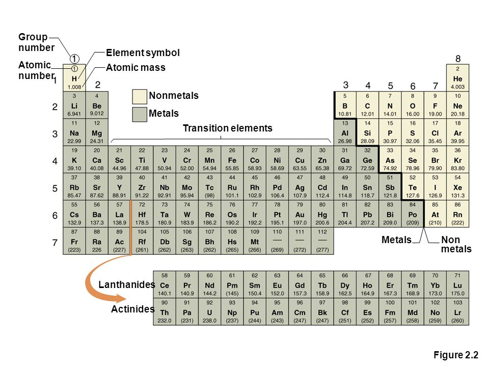 Figure 2.2 Group number Atomic number Element symbol Atomic mass Nonmetals Metals Transition elements Lanthanides Actinides Metals Non metals