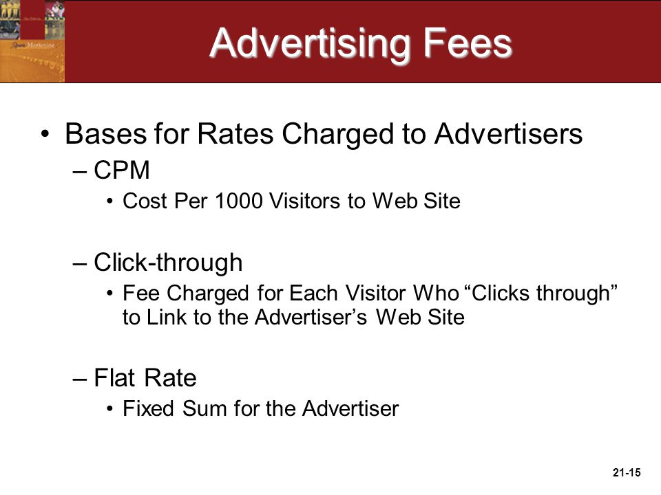 21-15 Advertising Fees Bases for Rates Charged to Advertisers –CPM Cost Per 1000 Visitors to Web Site –Click-through Fee Charged for Each Visitor Who Clicks through to Link to the Advertiser's Web Site –Flat Rate Fixed Sum for the Advertiser