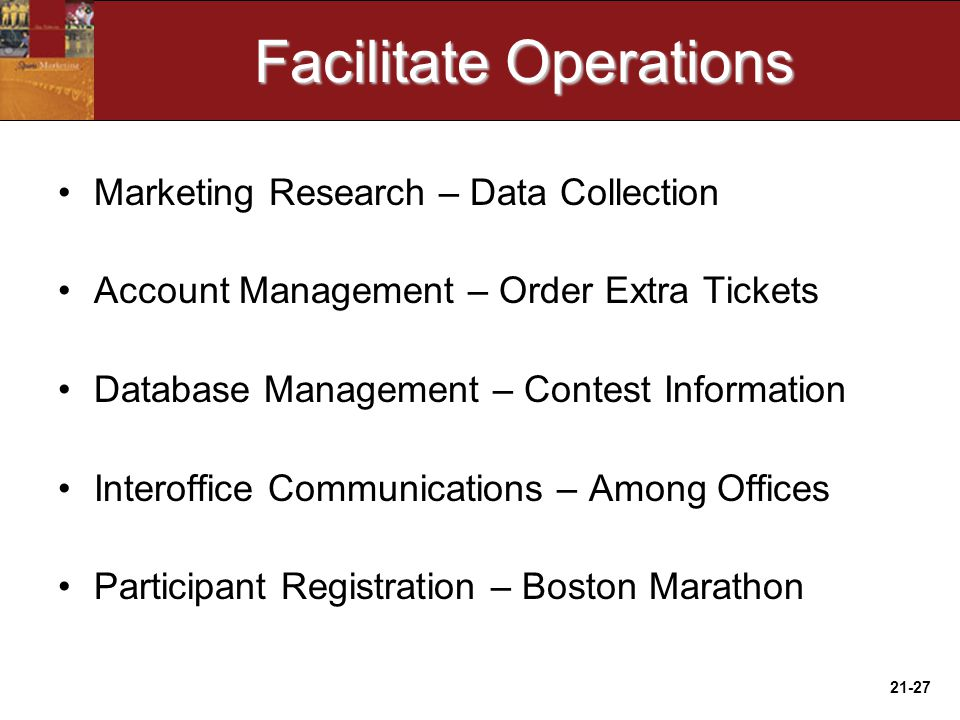 21-27 Facilitate Operations Marketing Research – Data Collection Account Management – Order Extra Tickets Database Management – Contest Information Interoffice Communications – Among Offices Participant Registration – Boston Marathon