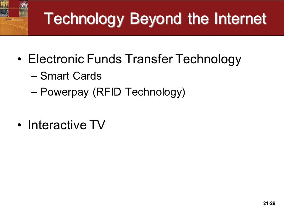 21-29 Technology Beyond the Internet Electronic Funds Transfer Technology –Smart Cards –Powerpay (RFID Technology) Interactive TV